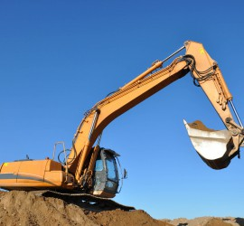 Excavator and blue sky